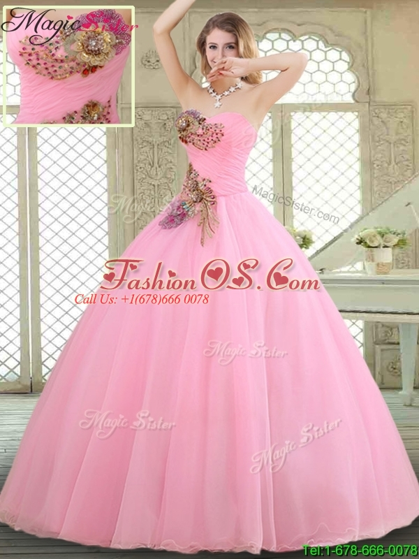 New Style Rose Pink Quinceanera Gowns with Beading and Appliques