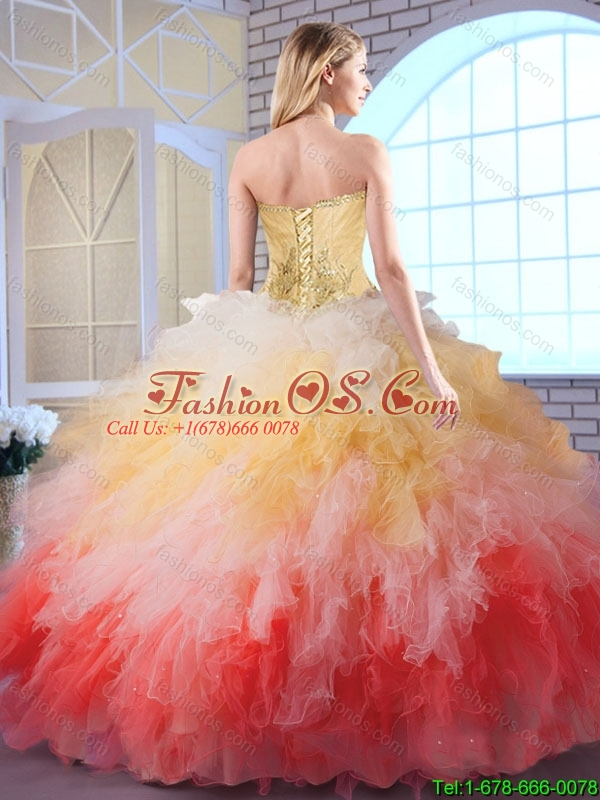 2015 Winter Popular Multi Color Quinceanera Gowns with Appliques and Ruffles