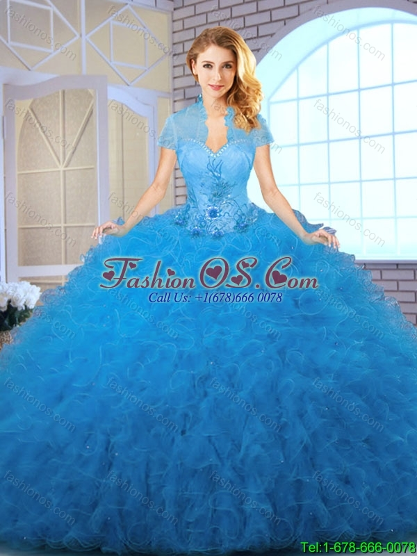 2016 Perfect Blue Sweet 16 Dresses with Appliques and Ruffles