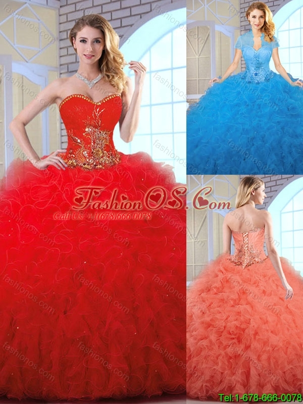 Cheap Appliques and Ruffles Quinceanera Gowns with Sweetheart