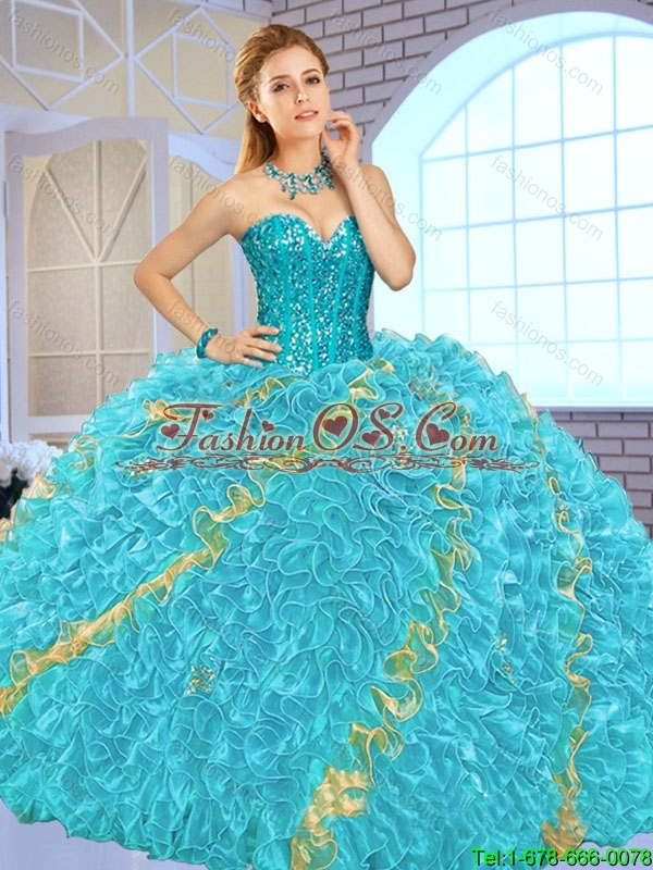 Exclusive Beading Multi Color Quinceanera Gowns for 2016 Spring