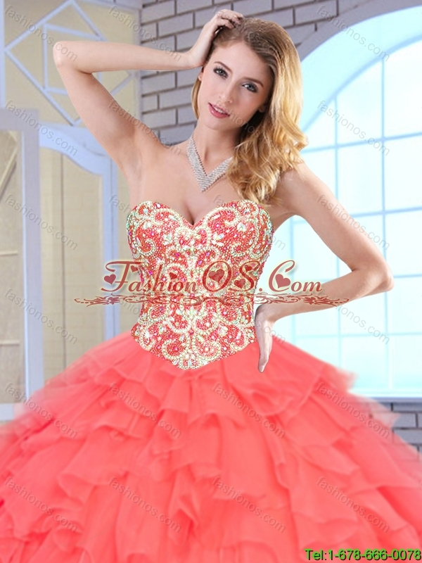 Gorgeous Beading and Ruffles Quinceanera Gowns with Sweetheart