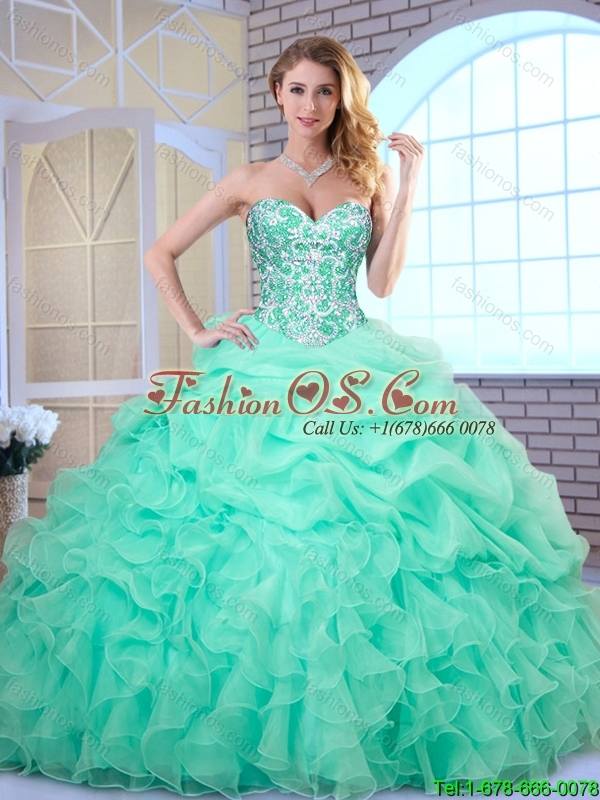 Hot Sale Apple Green Quinceanera Dresses with Beading and Ruffles