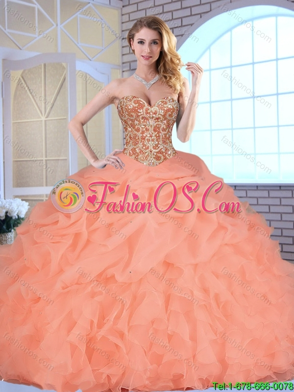 Hot Sale Beading and Ruffles Quinceanera Gowns with Lace Up
