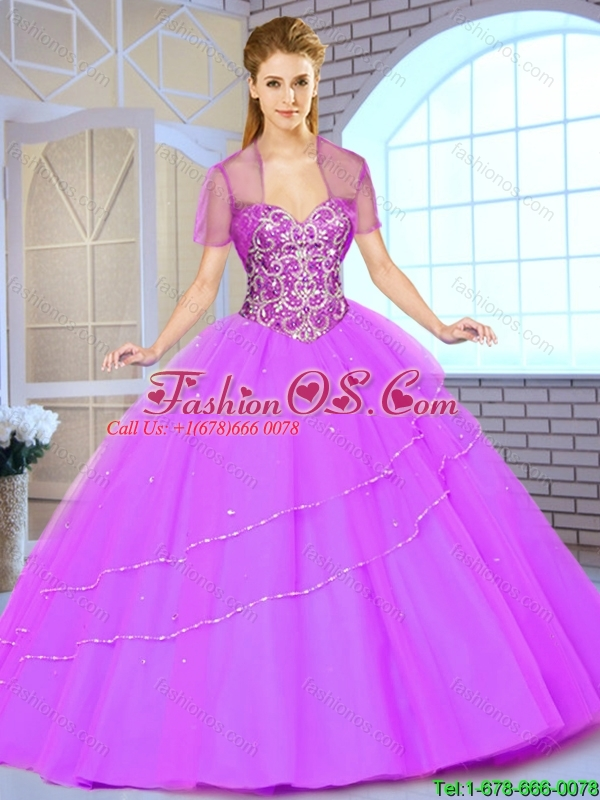 New Style Floor Length Quinceanera Gowns with Beading