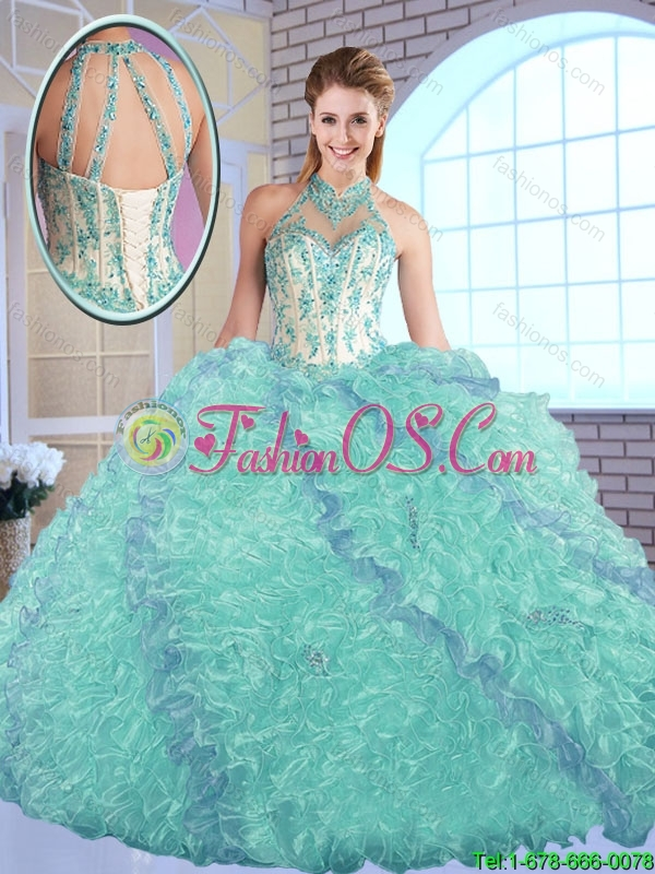 2016 Elegant High Neck Quinceanera Dresses with Appliques and Ruffles