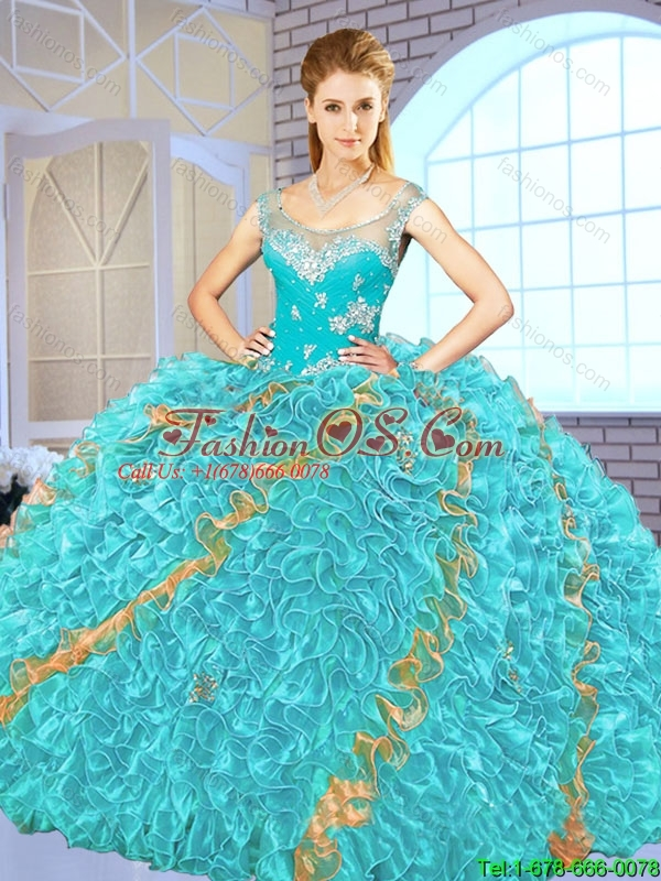2016 Exclusive Beading and Ruffles Quinceanera Gowns in Multi Color