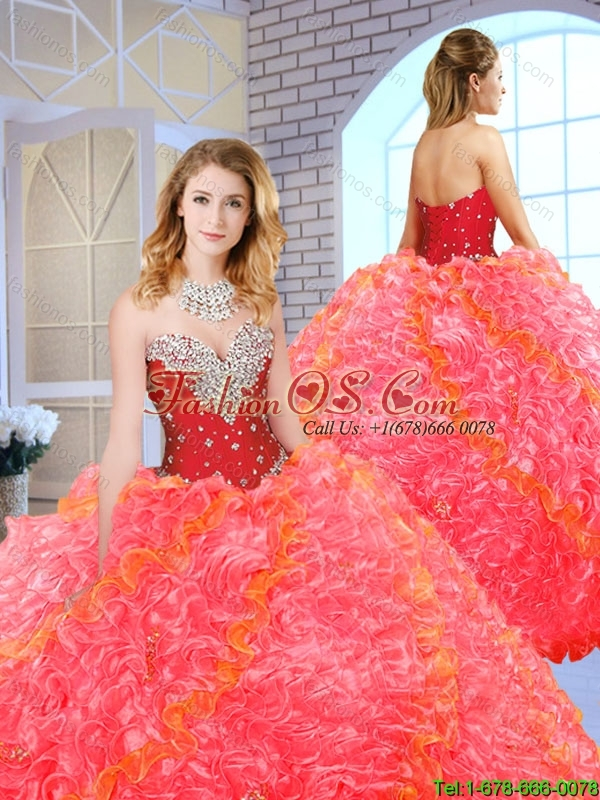 2016 Formal Sweetheart Quinceanera Gowns with Beading and Ruffles