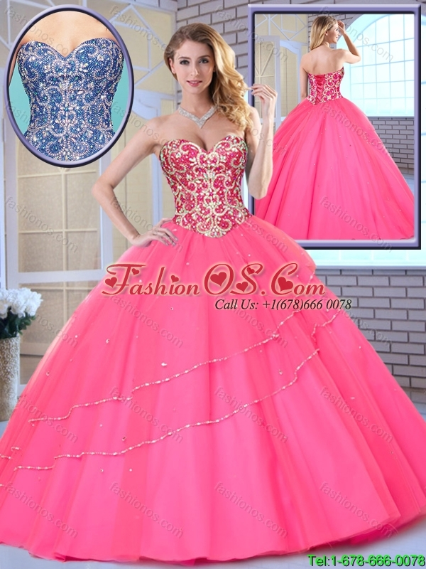 2016 Latest Beading Sweetheart Quinceanera Dresses in Hot Pink