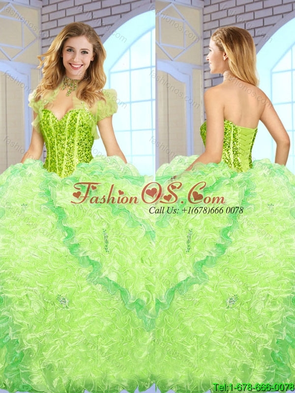 2016 Luxurious Beading and Ruffles Quinceanera Gowns in Multi Color