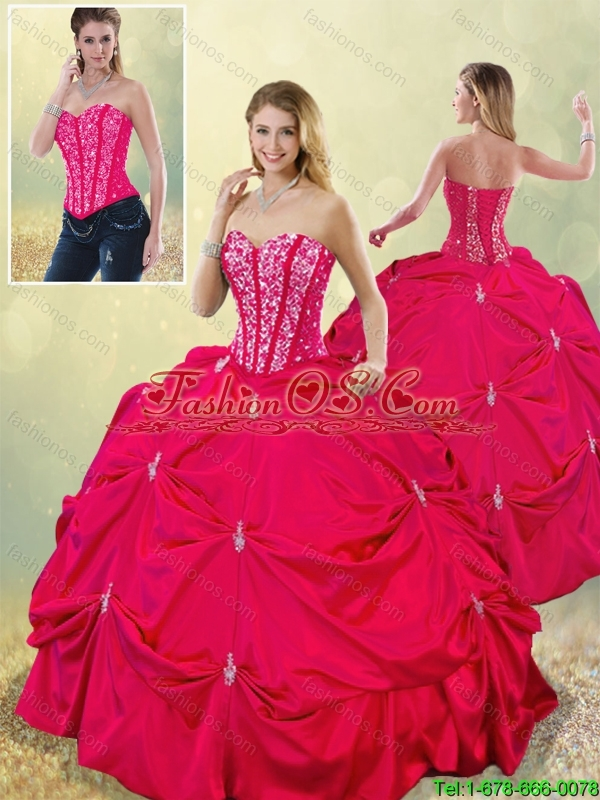 2016 Perfect Sweetheart Beading Quinceanera Gowns in Hot Pink
