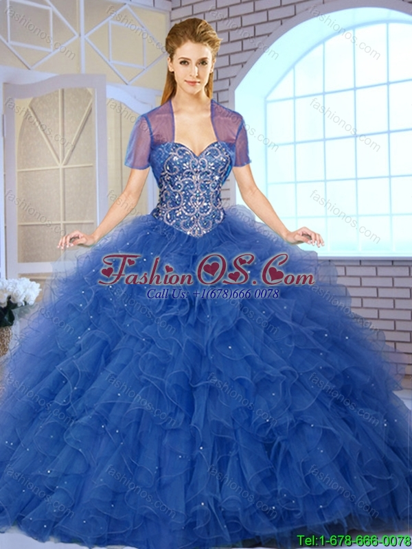 2016 Popular Ball Gown Sweet 16 Dresses with Beading and Ruffles