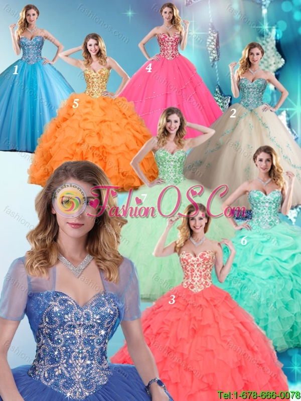 2016 Spring Cheap Beading and Ruffles Apple Green Quinceanera Dresses