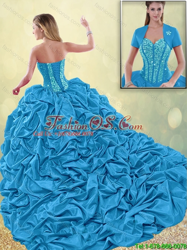 Beautiful Appliques and Pick Ups Quinceanera Dresses with Brush Train