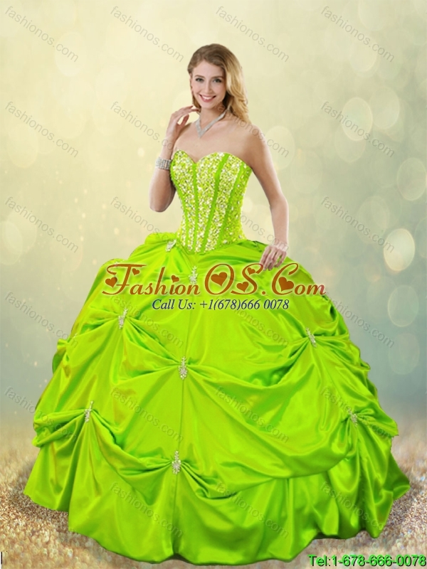 Classical Ball Gown Sweet 16 Dresses with Beading for 2016 Spring