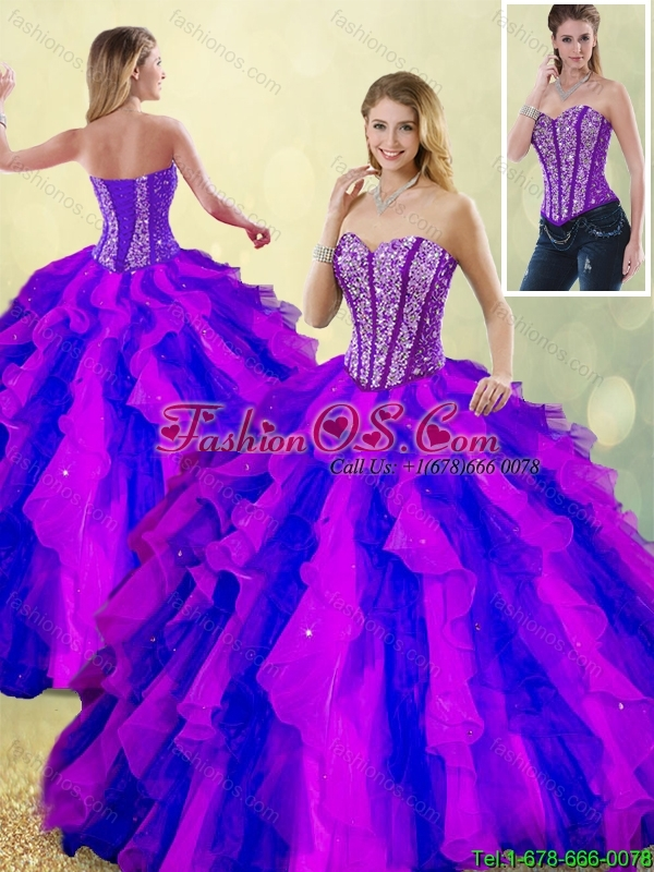 Classical Beading and Ruffles Multi Color Detachable Quinceanera Dresses