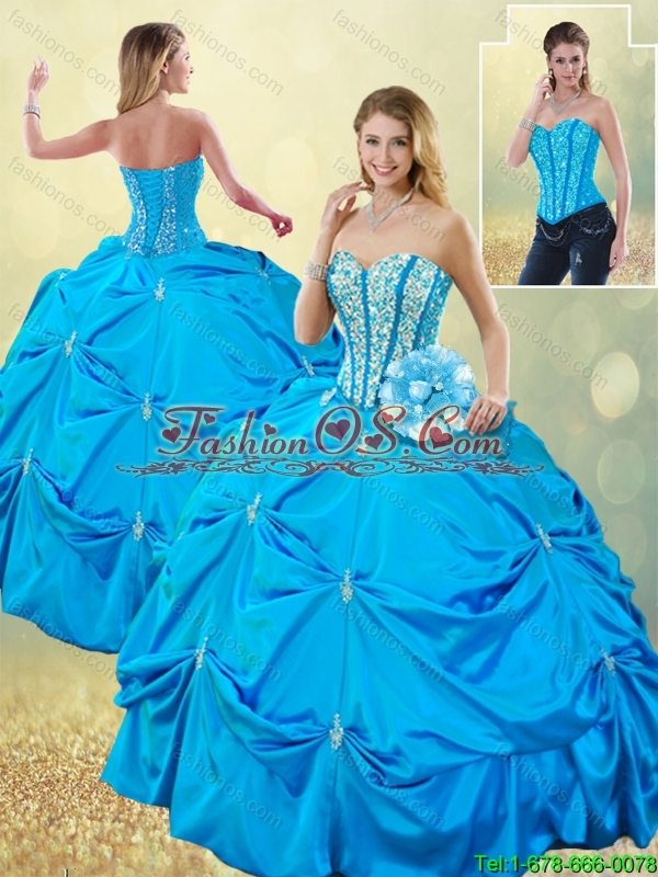 Elegant Sweetheart Detachable Quinceanera Dresses with Beading and Pick Ups