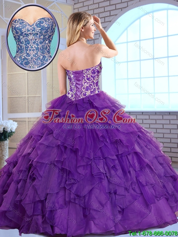 Exquisite 2016 Aqua Blue Sweet 16 Gowns with Beading and Ruffles