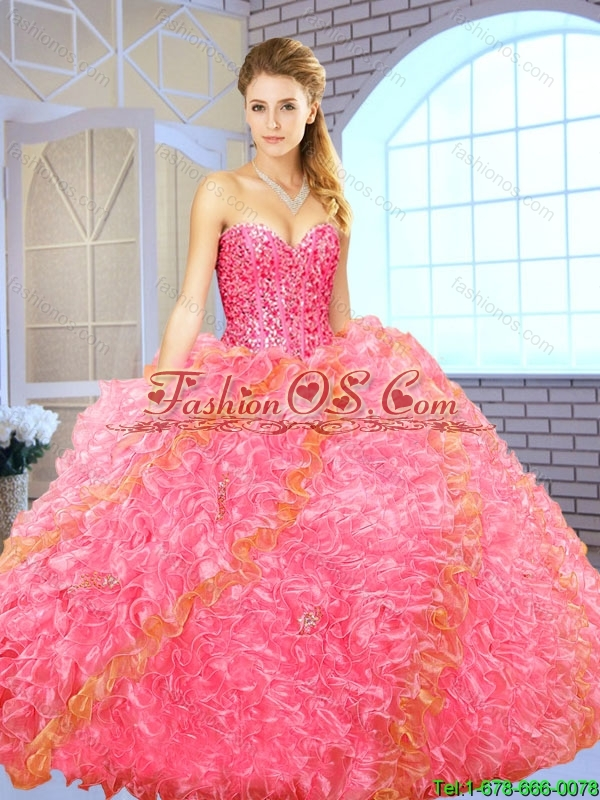 Exquisite Beading Sweetheart Quinceanera Gowns with Floor Length