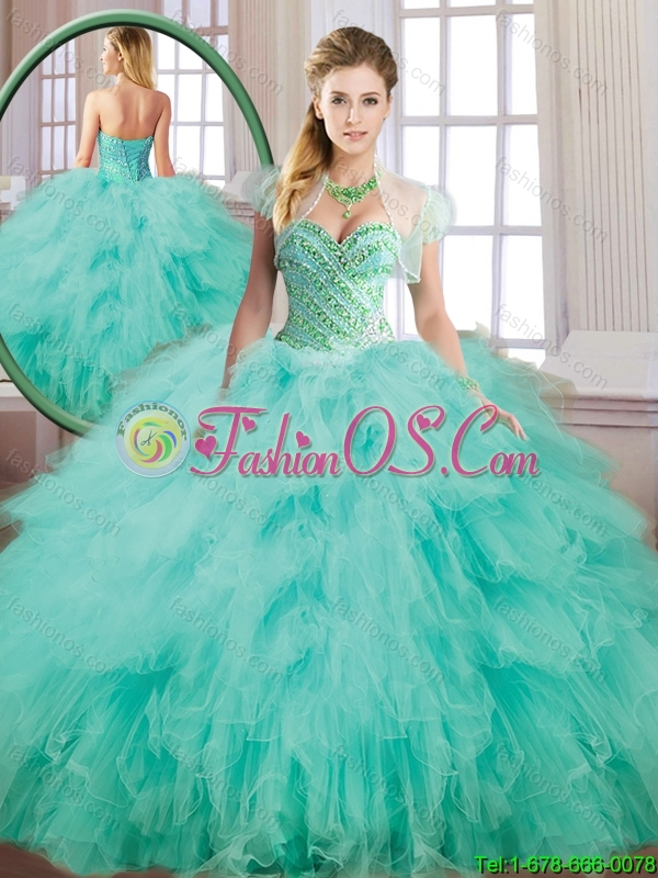 Fall Beautiful Spring Green Sweet 16 Dresses with Beading for 2016