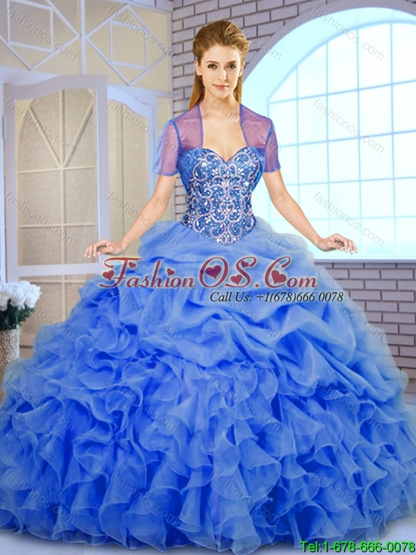 Fall Best Selling Beading and Ruffles Quinceanera Dresses in Blue