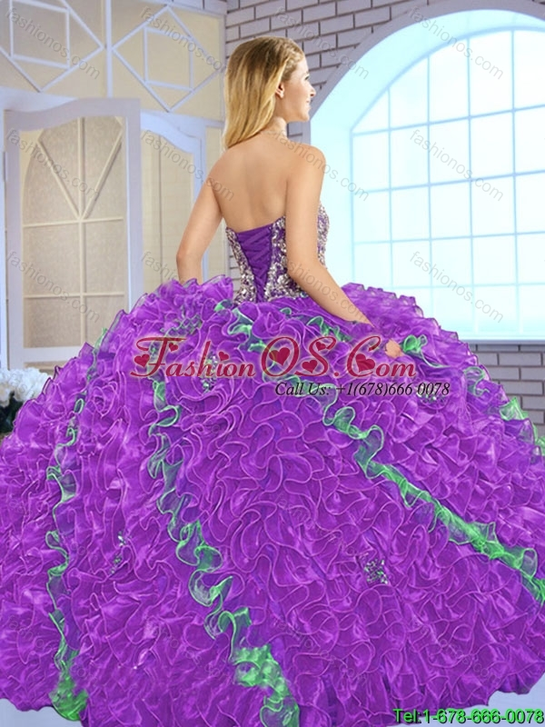 Fashionable Beading Multi Color Sweet 16 Dresses with Ball Gown