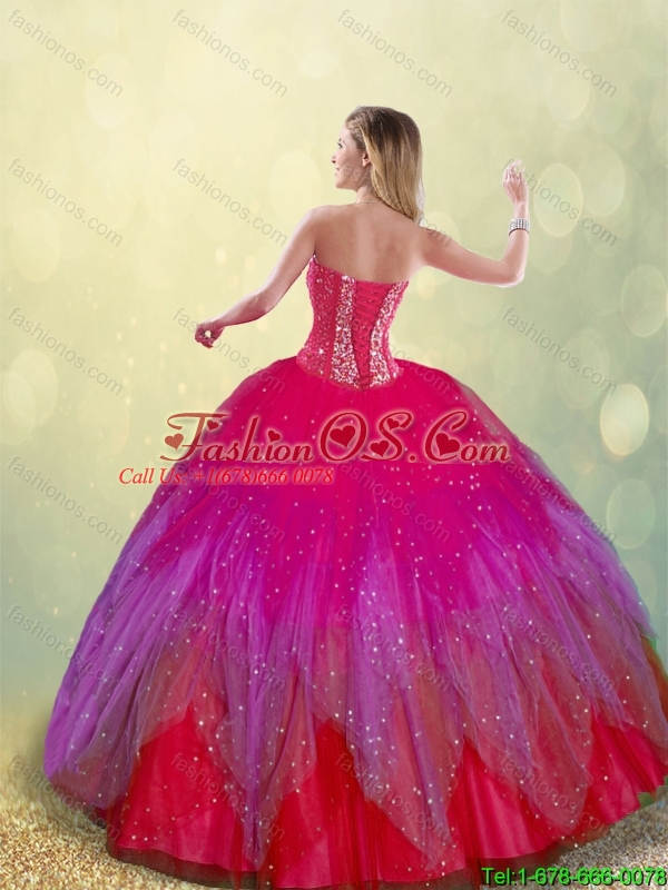 Fashionable Beading Sweetheart Multi Color Quinceanera Dresses