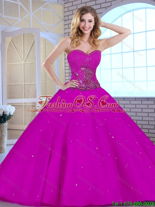 Hot Sale Appliques Fuchsia Quinceanera Dresses with Sweetheart