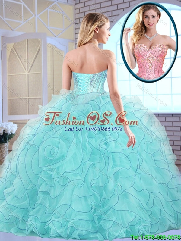Latest Beading and Ruffles Quinceanera Dresses in Aqua Blue for 2016