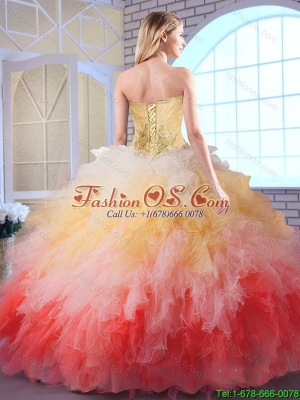 Luxurious Appliques and Ruffles Quinceanera Dresses in Multi Color