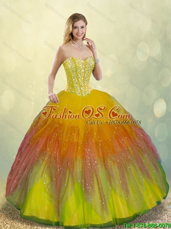 Luxurious Beading Detachable Quinceanera Gowns with Floor Length