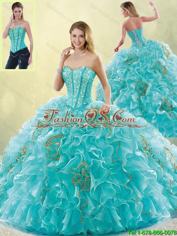 Luxurious Brush Train Sweetheart Detachable Quinceanera Dresses in Aqua Blue