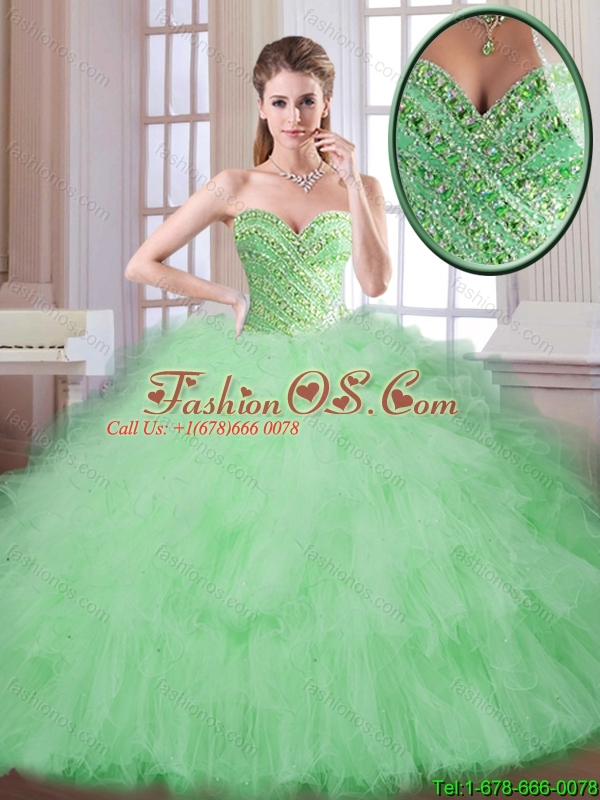 Perfect Spring Apple Green Quinceanera Gowns with Sweetheart
