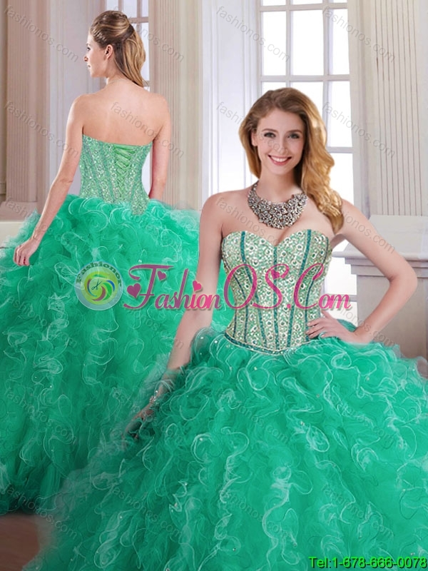 Perfect Turquoise Quinceanera Dresses with Beading and Ruffles