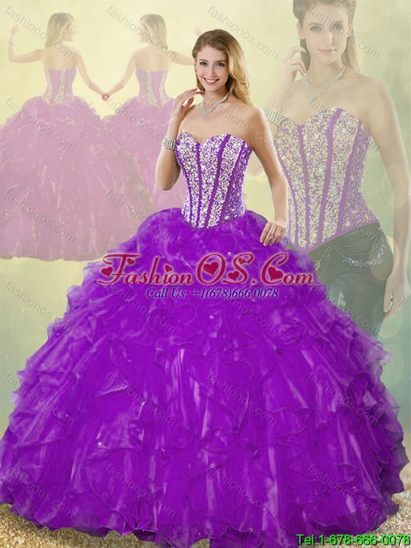 Popular Beading Purple Detachable Quinceanera Gowns with Sweetheart