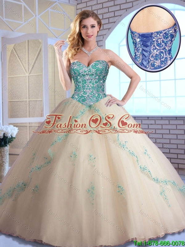 Pretty Champagne Quinceanera Dresses with Appliques and Beading
