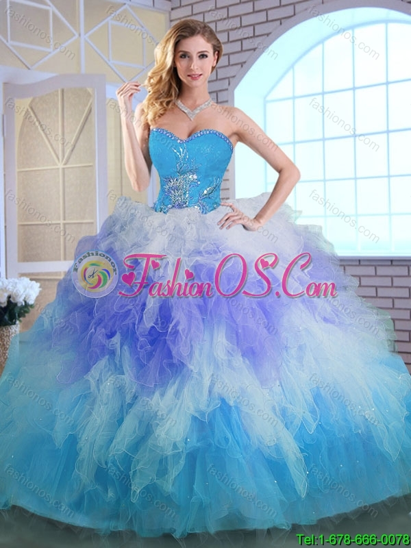 Spring Latest Winter Appliques and Ruffles Quinceanera Dresses in Multi Color