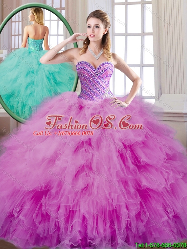 Summer Fashionable Beading and Ruffles Quinceanera Dresses in Fuchsia
