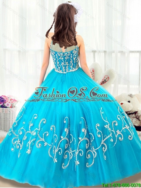 2015 winter Cheap Beading Little Girl Pageant Dresses  with High Neck