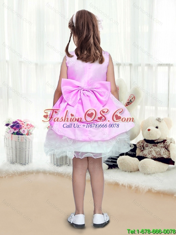 Perfect A Line Scoop Mini Length Bowknot Little Girl Pageant Dresses for 2016