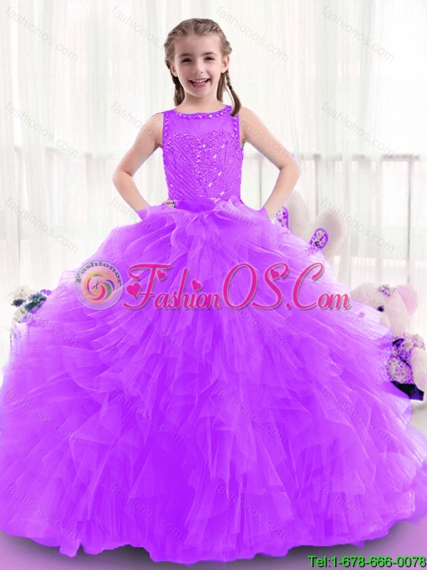 New Style Little Girl Pageant Dresses with Bateau for 2016