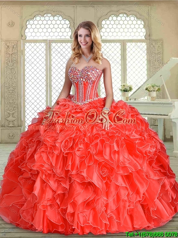 2016 Classical Sweetheart Quinceanera Dresses with Beading and Ruffles