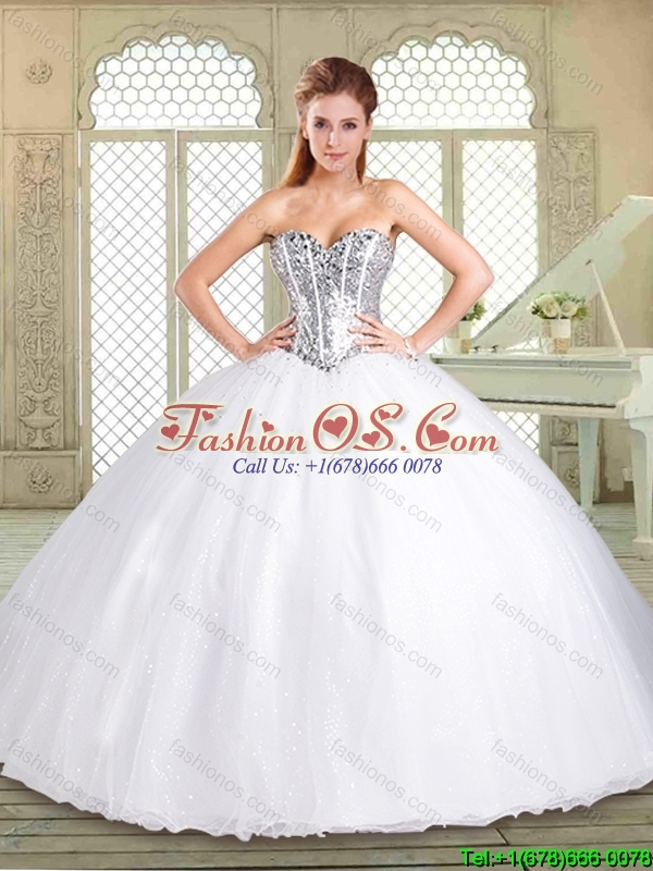 2016 Simple Sweetheart Paillette Quinceanera Dresses in White