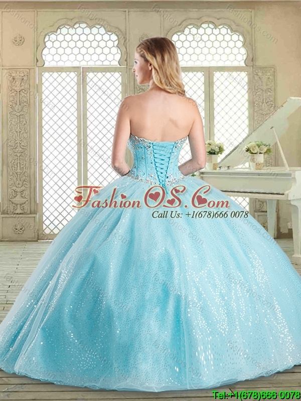 Simple Floor Length Quinceanera Gowns with Beading