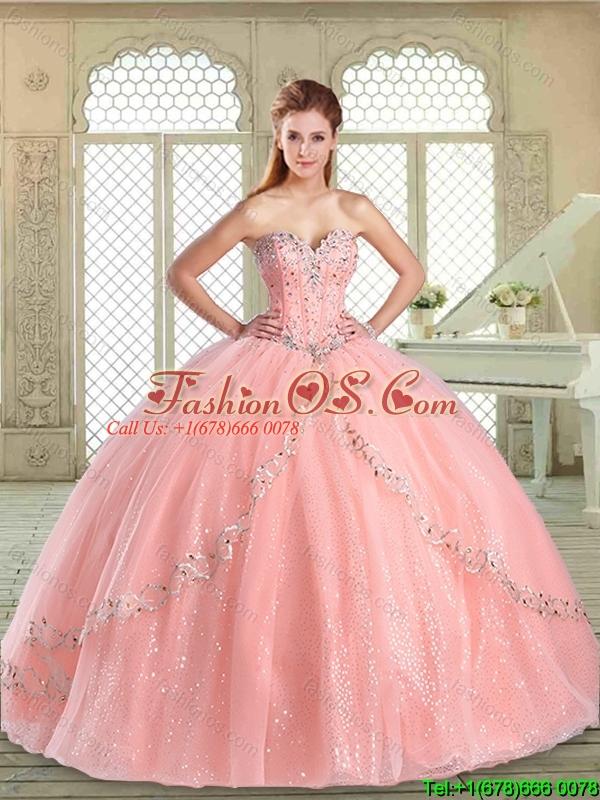 2016 Romantic Sweetheart Beading Quinceanera Dresses in Watermelon