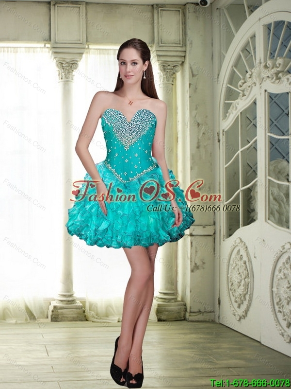 Cheap Mini Length Detachable Prom Dresses with Beading and Ruffles