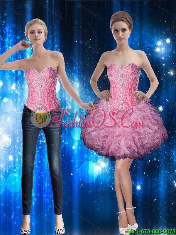 Discount Ball Gown Sweetheart Beaded Detachable Prom Dress with Ruffles