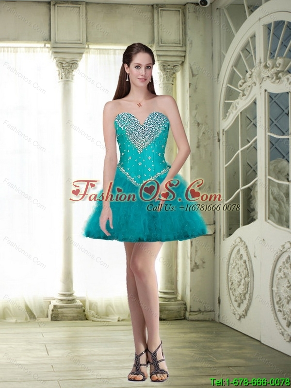 Discount Short Sweetheart Teal Detachable Prom Dresses with Beading