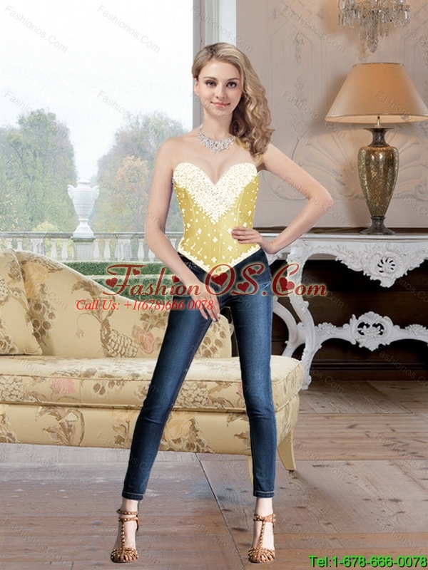 Exclusive Sweetheart Beaded and Ruffles Detachable Prom Dresses in Gold for 2016
