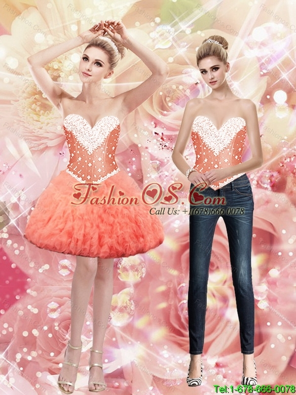 Exclusive Sweetheart Mini Length Watermelon Detachable Prom Dresses with Beading and Ruffles